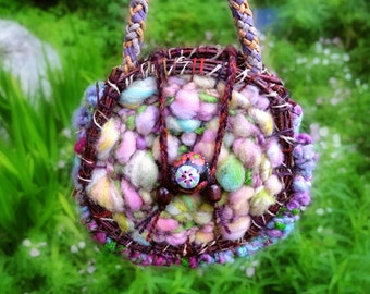 Fairy handbag woven bag Round handbag Knitted handbag crochet bag woodland larping round clutch elven