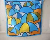 Vintage 1970s scarf by Nasharr Freres Ltd polyester made in Japan abstract umbrellas  21 x 21 inches