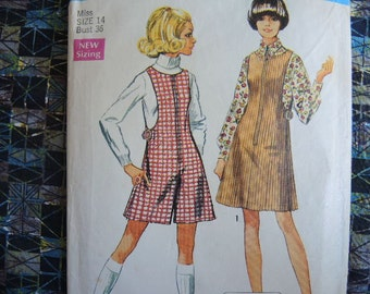 vintage 1960s simplicity sewing pattern 8343 misses jiffy jumper and mini pantjumper size 14