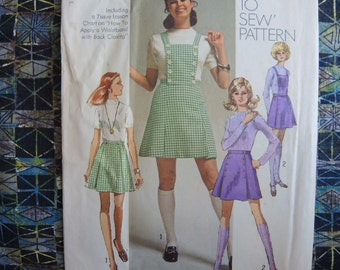 vintage 1970s Simplicity sewing pattern 8891 misses mini skirt with detachable bib size 14