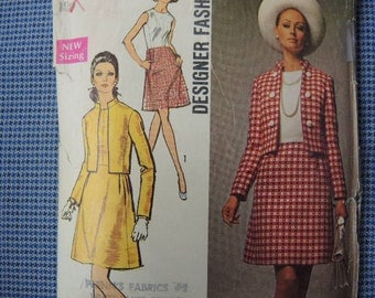 Vintage 1960s Simplicity sewing pattern 8590 misses dress and jacket...designer fashion  size 14