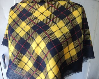 Vintage 1980s scarf by Baar & Beards Inc all wool made in Japan bright yellow and black plaid  31 x 31 inches