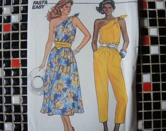 vintage 1980s Butterick sewing pattern 3279 uncut misses dress and jumpsuit sizes 6 8 10