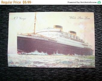 Vintage M V Georgic White Star Line  postcard,history, memorabilia, ship postcard, steamer