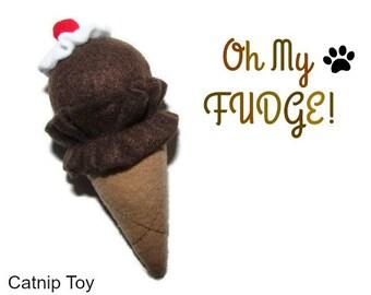 Cat Toy - Catnip Ice Cream Cone Cat Toy - Oh My FUDGE!