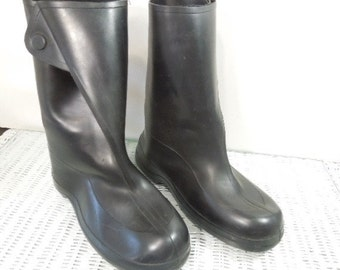 Pull-on Rubber Golashes, Overshoe Tingley Boots, Size Medium, Black Rubber Boots, Gift for Man or Teen