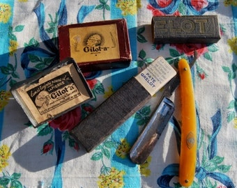 """Antique French Grelot Razoir Cut Throat Razor & Gilot """"a"""" Sharpening Block in Original Boxes-Rare French Barber Shop Shaving Collectables.."""