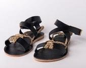 Ankle wrap Sandals black color and yuta braided rope - Greek sandals - Eleanna Katsira Crete - Black sandals - Ancient Greek Sandal
