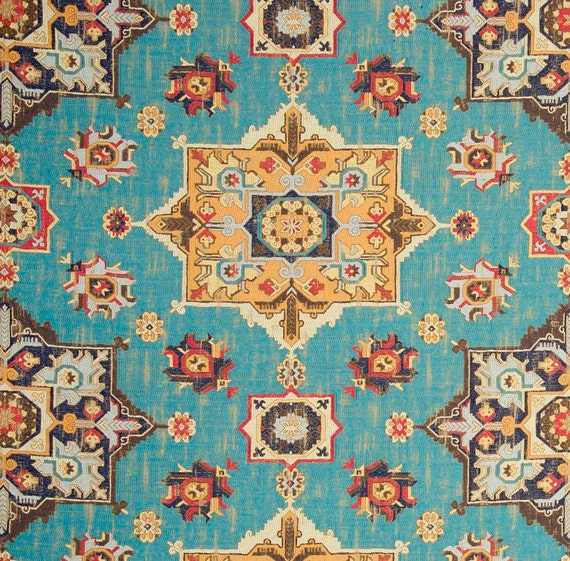 Blue Brown Woven Tapestry Upholstery Fabric Textured Light