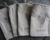 RESERVED FOR LILMIZSCAREALL French Rooster Wedding Favor Bags (15), Merci Muslin Favor Bags, French Country Chic, Provence Style, 3 x 4