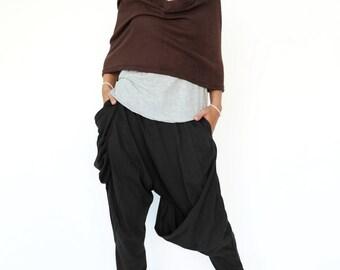 NO.193 Black Cotton Jersey Draped Harem Pants, Casual Drop Crotch Trousers, Baggy Harem Pants, Women's Pants