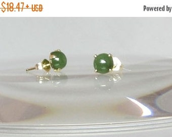SALE Jade Studs Earrings Natural Nephrite Jade Set in 14Kt Gold Filled or Sterling Silver Stud Posts