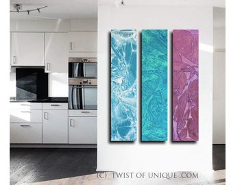 Industrial Watercolor Painting / CUSTOM  3 painting set  48x10 / Urban Industrial Watercolor/  Oversized Abstract Painting/ Twist of unique
