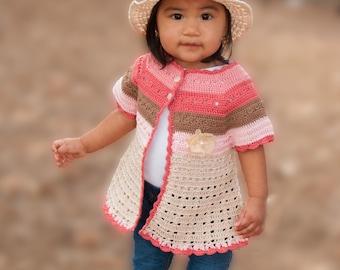 Crochet PATTERN: Isabelle Cardigan size 3T-4T