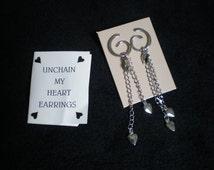 Vintage Avon , Unchain my Heart dangle pierced earrings, avon jewelry, jewellry, silvertone earrings, heart earrings,  earrings