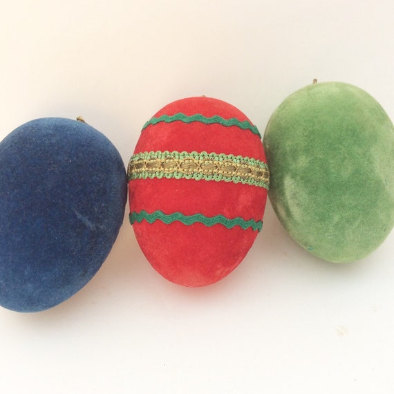 Fabulous 1960's Flocked Jewel Coloured Easter Egg Hanging Ornaments- Mid Century German Design