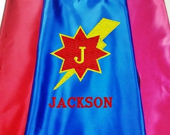 Super Hero kid's Cape,  Monogram Lightning Bolt Superhero Cape, Kid's Cape, Embroidered Personalized