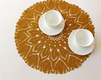 Golden Ocher linen crochet doily, round doily, hand crochet tableclothes, Mothers day home decoration, Ready to ship