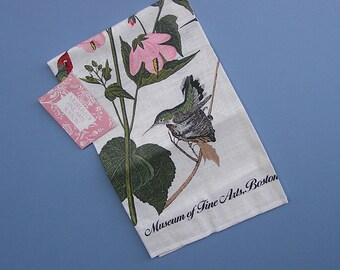 Vintage Hummingbird Fine Linen Tea Towel (D) Audubon Anna's Hummingbird, California Hummingbird, Bird Tea Towel
