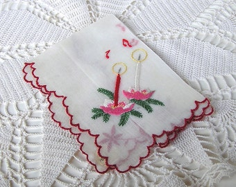 Vintage Embroidered Christmas Hanky, Candles, Musical Notes, Holiday Handkerchief, Cotton Sheer, Willow, Switzerland, orig label, unused (A)