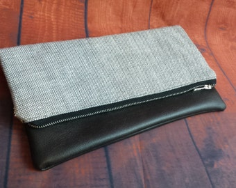 fold over clutch/black faux leather fold over clutch