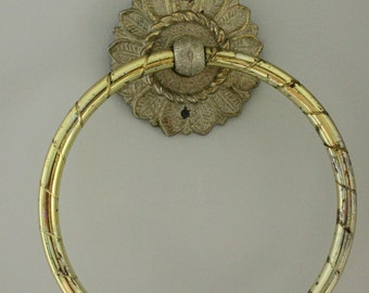 Vintage gold towel ring, 1972 Coby, Sunflower Center Rosette, Feather /leaf detail Twisted metal accents with patina