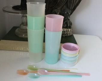 Vintage Set of 15 (5 each) Tupperware pastel cups, TUMBLERS, COASTERS & long handled SPORKS Jadite, Green, Pink,Blue, Clear, Tupperware lot