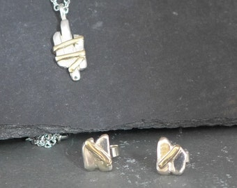 Gate pendant and stud earring set sterling silver 9ct gold pretty, stunning, handmade, ready to ship,  Fiona Lewis in UK