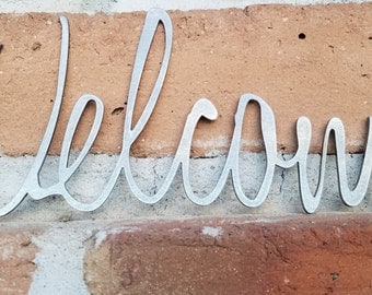 Welcome Sign,Metal Signs,Welcome, MCM,Mid Century,Home Decor,Welcome decor,Script,Address, Mid Century Numbers