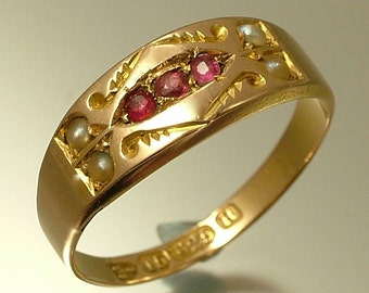 Vintage antique Victorian 15ct 15kt gold, seed pearl and ruby ring - Chester hallmark / British gold 1891 - jewellery, estate jewelry