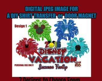 Printable Family Disney Vacation 4Parks Shirt Image DIY Disney Shirts Matching Family Shirts Mouse Heads Personalized Shirts DIY Door Magnet