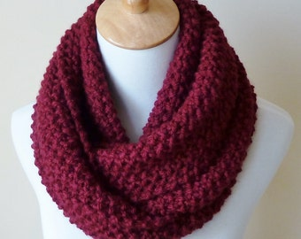 Oxblood Wine Infinity Scarf - Burgundy Wool Scarf - Chunky Knit Scarf - Circle Scarf - Ready to Ship