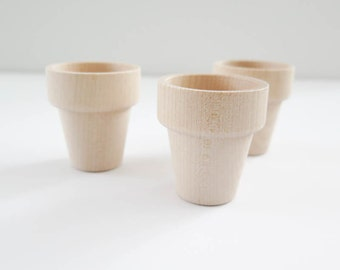 Wood Flower Pots | Small Unfinished Wooden Flower Pots for Painting, Kids Crafts - Set of 3