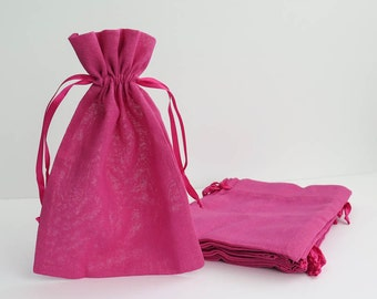"Pink Cotton Muslin Bags | Large Drawstring Muslin Pouches, Gift Bags, Favor Bags for Weddings (6""x9"")"