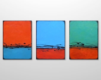 Large Abstract Modern Contemporary Triptych Painting - Original Bright Urban Decor - Canvas Acrylic Wall Art - Blue Green Red Orange Splash