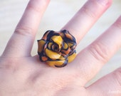 Camel Toffee Ring, Rose Rosy Flower Ring Polymer Clay Filigree top selling items,  popular items, top selling jewelry, popular jewelry