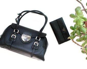 Prada Leather Bag + Prada Leather Wallet Prada Black Bag Prada Bag Prada Leather Handbag Prada Black Handbag Black Wallet Black Clutch