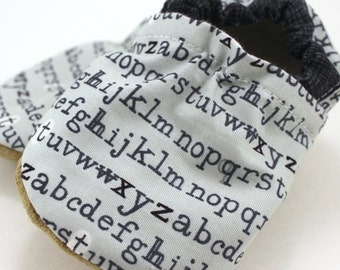 alphabet baby shoes gray booties alphabet shoes for baby gray and white shoes with letters newsprint baby gray baby booties toddler slippers