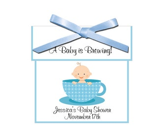 Tea Favors - personalized baby boy tea favors, baby shower favors - set of 12 complete tea favors