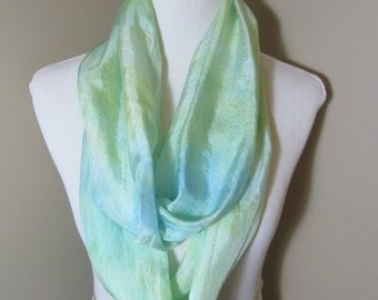 Hand dyed lemon and blue narrow infinity scarf -