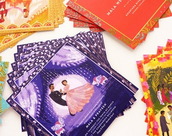 Colorful Indian wedding in Thailand, Mehendi, Sangeet, and Ceremony custom invitations and program