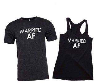 2 MARRIED AF, Married AF Shirt, Honeymoon Shirts, Husband and Wife Shirts, Just Married Shirts, Couples Shirts, Honeymoon Gifts, Anniversary