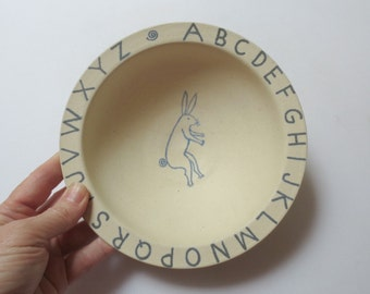 SWEET Handmade Child's Ceramic/Pottery Bowl with ABCs and Bunny, Baby Gift