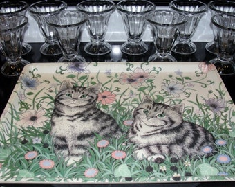 Mikasa Serving Tray and 10 Beautiful Glass Sundae cups.