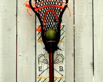 Lacrosse Player Lax Stick Hanger Wall Decor Personalized Team Colors Sports Room Wall Hook Hanger Lacrosse Theme Athletic Theme Man Cave Art
