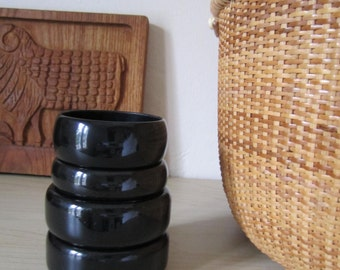 Lot of 4 Vintage Black Plastic Bracelets - 1970s or 1980s