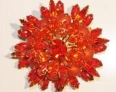 Vintage 1960s Flower Pin / Brooch Faceted Orange Rhinestone & Matte Stones