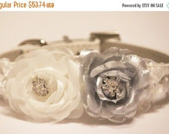 Silver White Wedding Floral Dog Collars, Silver White flowers with Rhienstones, High Quality leather Dog Collar