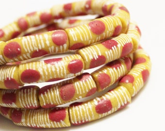 Dotted African Glass Beads (11), Red Yellow Beads, Ethnic Jewelry Supplies (P101)