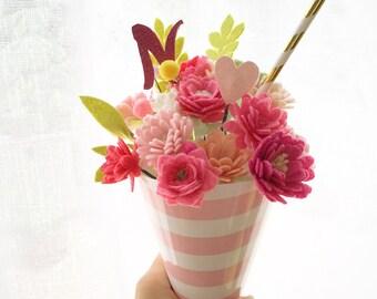 Ice cream cone bouquet.  Felt Flower cone.  Felt flower bouquet.  Personalized flower bouquet.  Graduation.  Birthday. Friendship